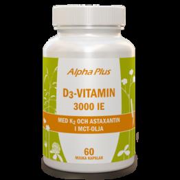 Alpha Plus D3-vitamin 3000IE + Vitamin K2 och Astaxantin i MCTolja 60kap