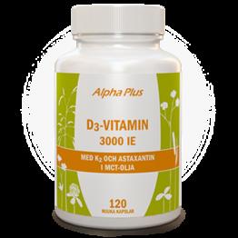Alpha Plus D3-vitamin 3000IE + Vitamin K2 och Astaxantin i MCTolja 120kap