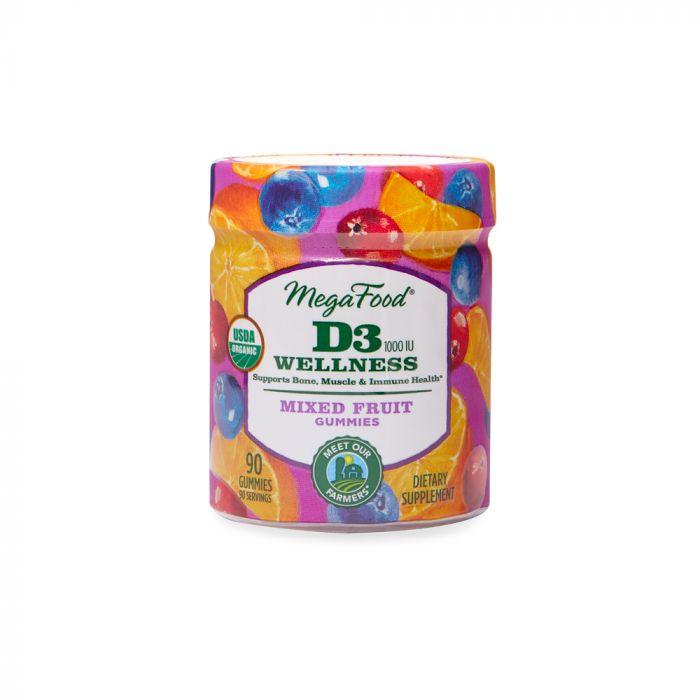 Megafood D3 Wellness Mixed Fruit Gummies 1000IU 90tab